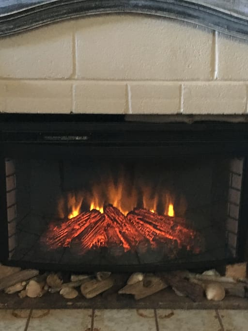 Newly added for your cozy experience in The Sandy Bottom, a Electric fireplace heater in family room.