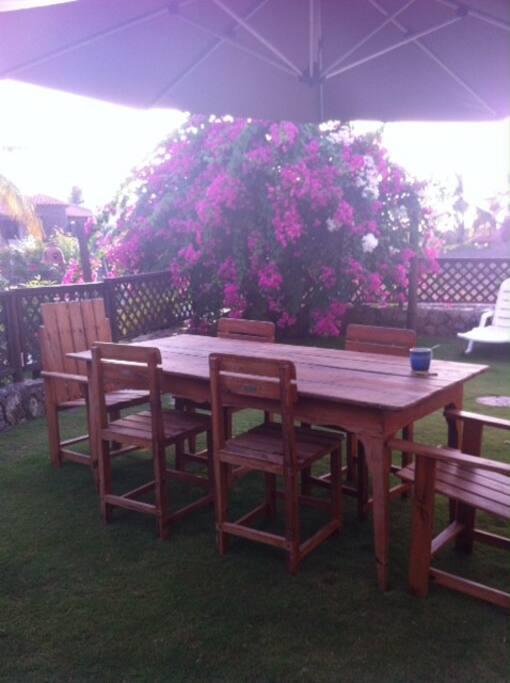 Hermoso y fresco jardín privado con acceso a la piscina