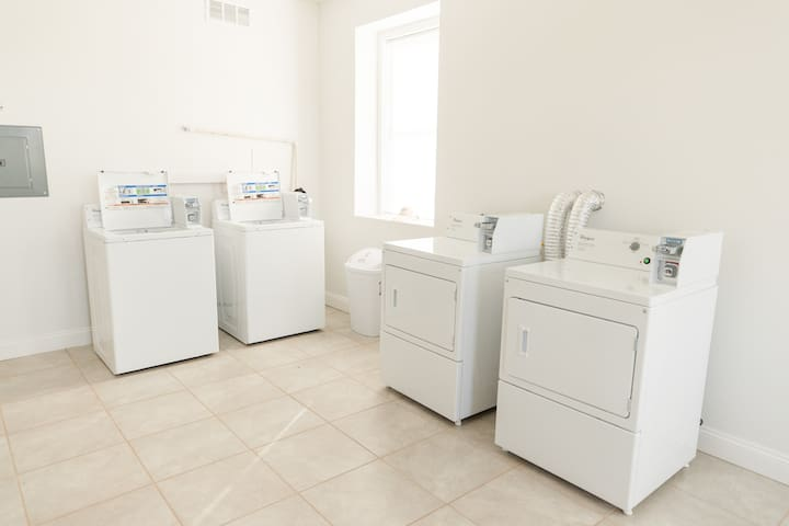 Coin laundry is located on the first floor of the City View Lofts building