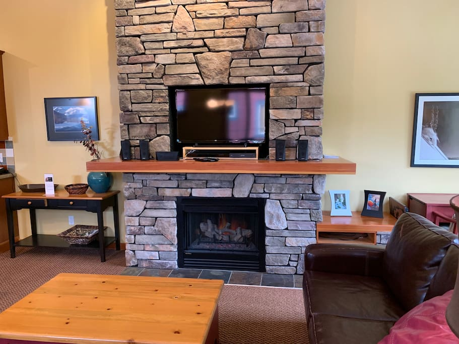 Gorgeous Stone Fireplace and Cable TV