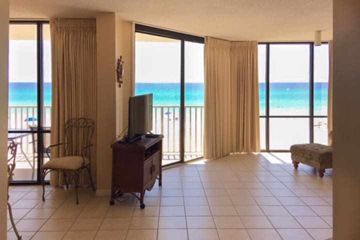 Gorgeous and spacious beachfront condo with shared pool and beach access