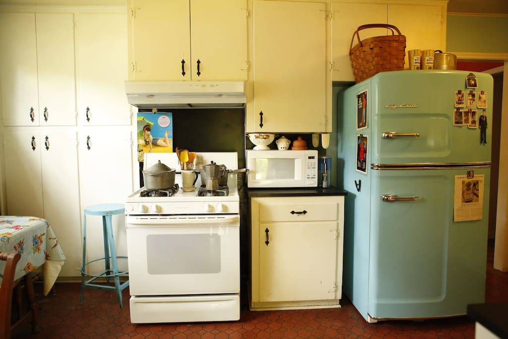 gas stove, retro fridge, dishwasher
