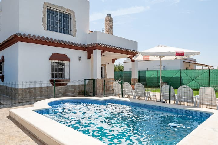 Rustic Home Close to the Beach with Pool, Terrace, Garden & Wi-Fi; Parking Available, Pets Allowed