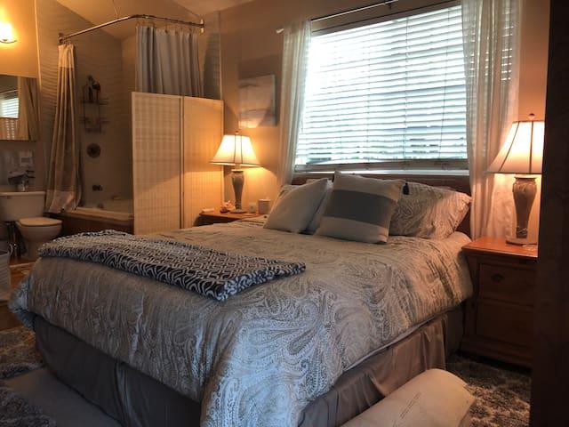 Comfy California king bed.
