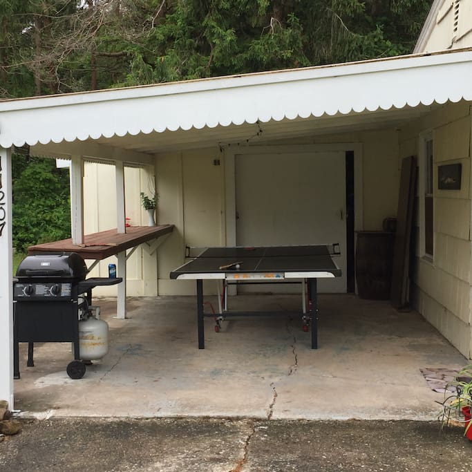 Covered ping pong area with outdoor bar space and gas grill