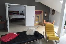 Large room in amazing  2400 sq ft  designer loft