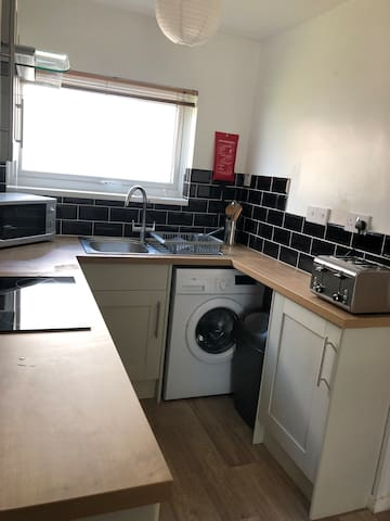 New kitchen for 2019 now with washing machine, fridge has small freezer compartment