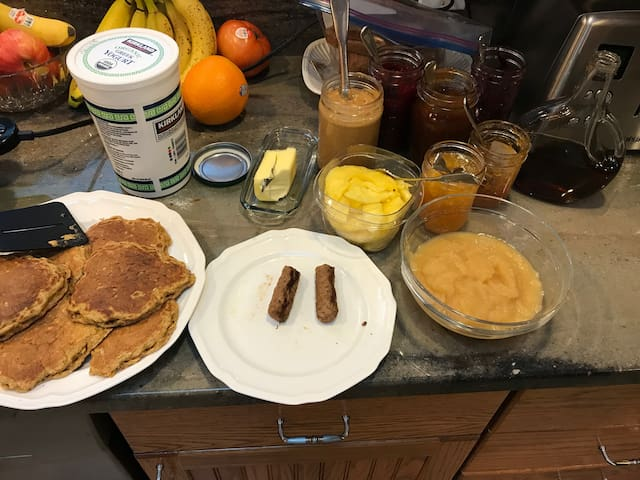 One of many breakfast possibilities. Buttermilk oatmeal pancakes with homemade jam or maple syrup