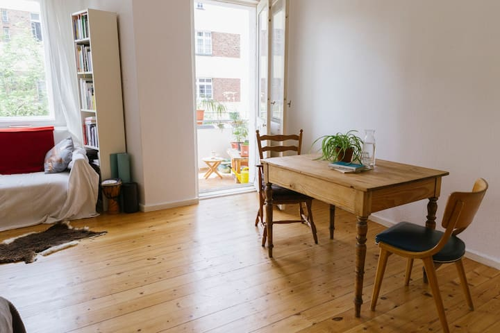 Cosy flat, wooden floor, individual style