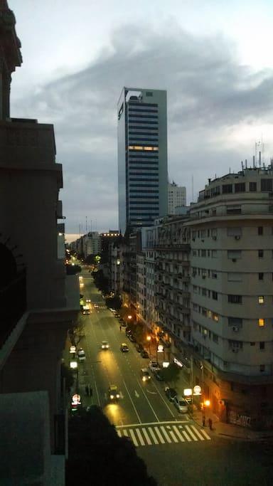 "View from balcony to the left at Avenida Belgrano, 3 blocks to ""avenida 9 de Julio"""