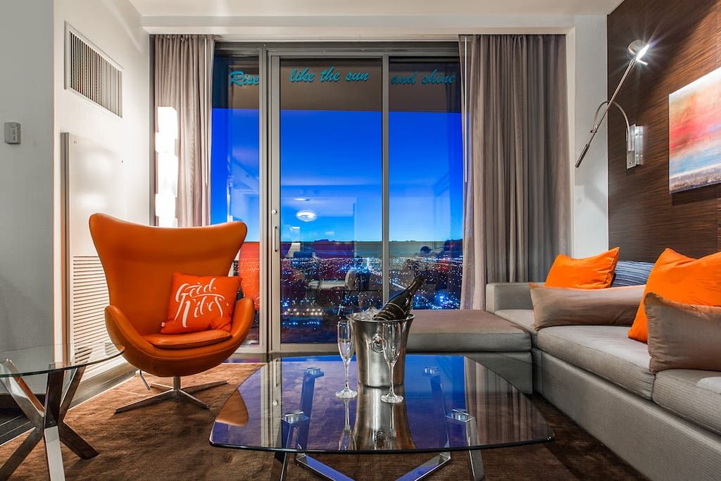 NO other suite in the Palms as the custom furniture pieces that make the Good Vibes Suite one of a kind.