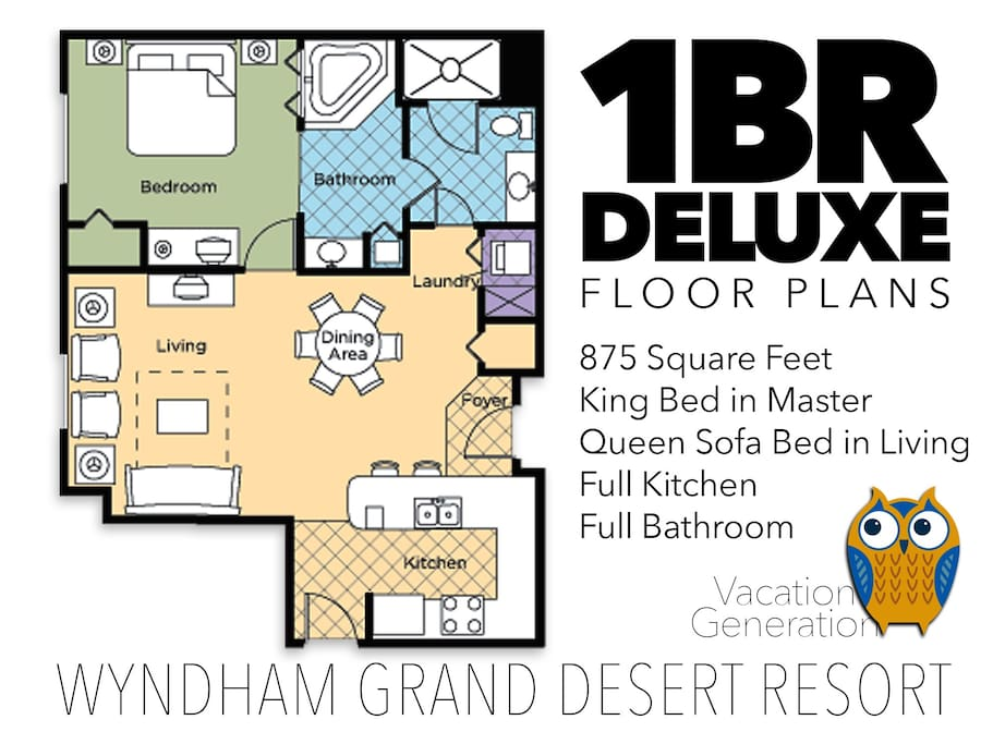 Floor plans and layout for 1 bedroom deluxe condo at Grand Desert