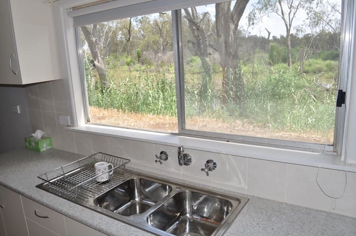 Kitchen window view of Lachlan River