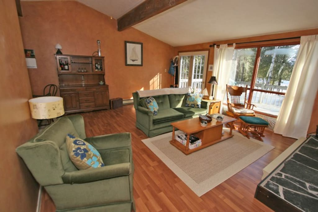 Note: All photos are taken with a wide angle lens so rooms appear bigger. With that said, it's a 1560 square foot cottage and all the rooms are good size.
