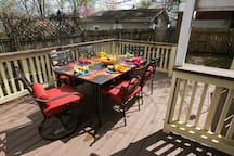 Outdoor dining area seats up to six.