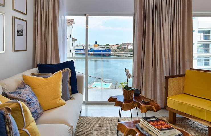 Living room with water view