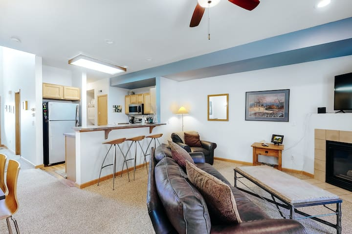 Open & inviting condo w/ a gas fireplace, free WiFi, & a private washer/dryer