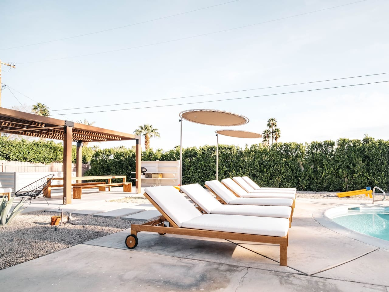 Enjoy Palm Springs the right way; sun bathing by the pool and having a nice dinner with a view of the mountains.