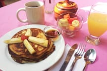 A Continental Breakfast is included in the  room rate, plus other items available at prices listed. Served in the hotel.