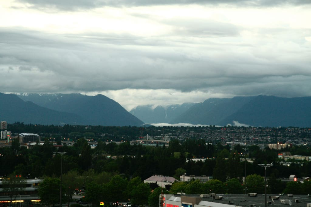 View of North Shore Mountains on a gloomy day