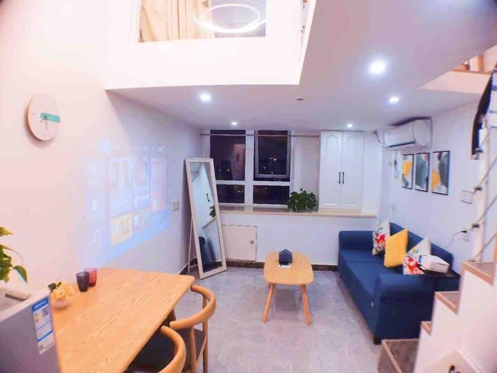 loft公寓2带投影仪独立两室一号线地铁直达火车站西湖武林门市区北欧风格银泰城电影院小吃街商场