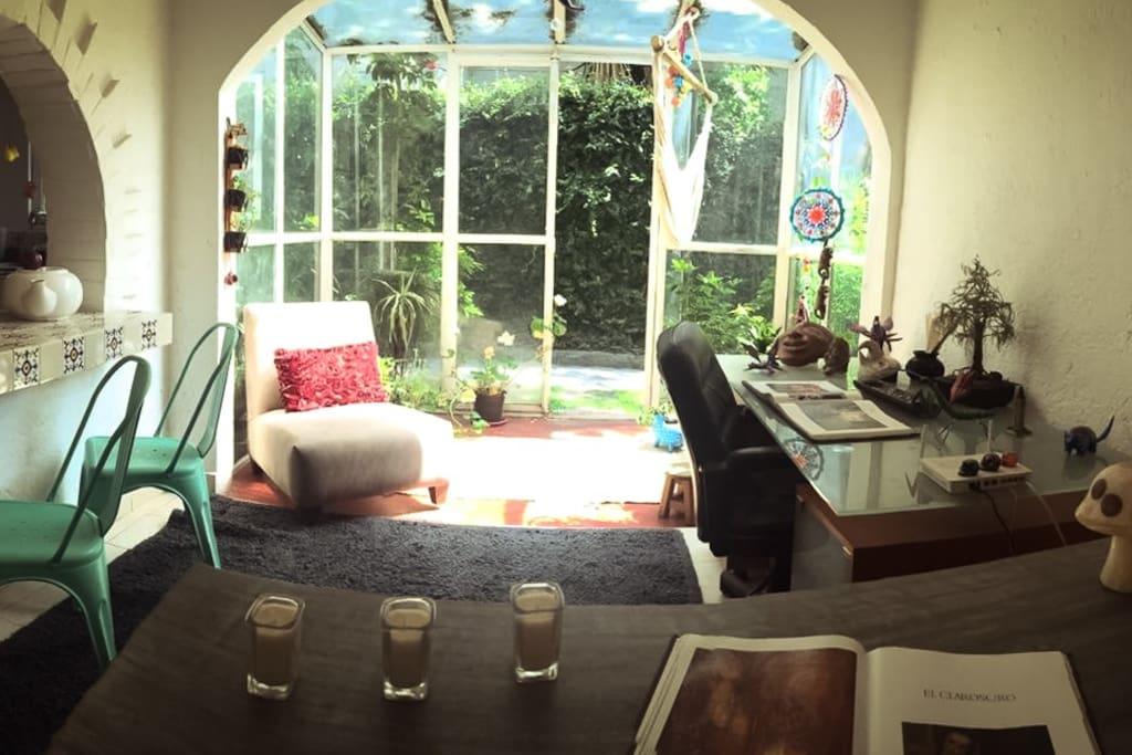Entrada del jardín, invernadero pequeño y escritorio para trabajo.