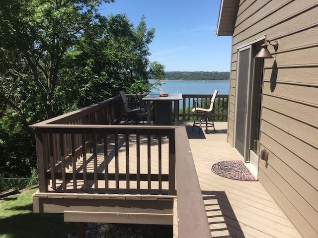 Enjoy lake view by fire pit table