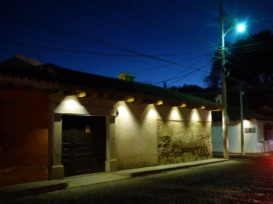 Perfect corner location, well-lit at night.