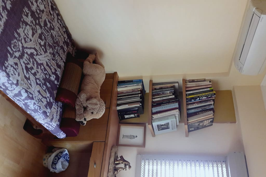 Comfortable rest space with books