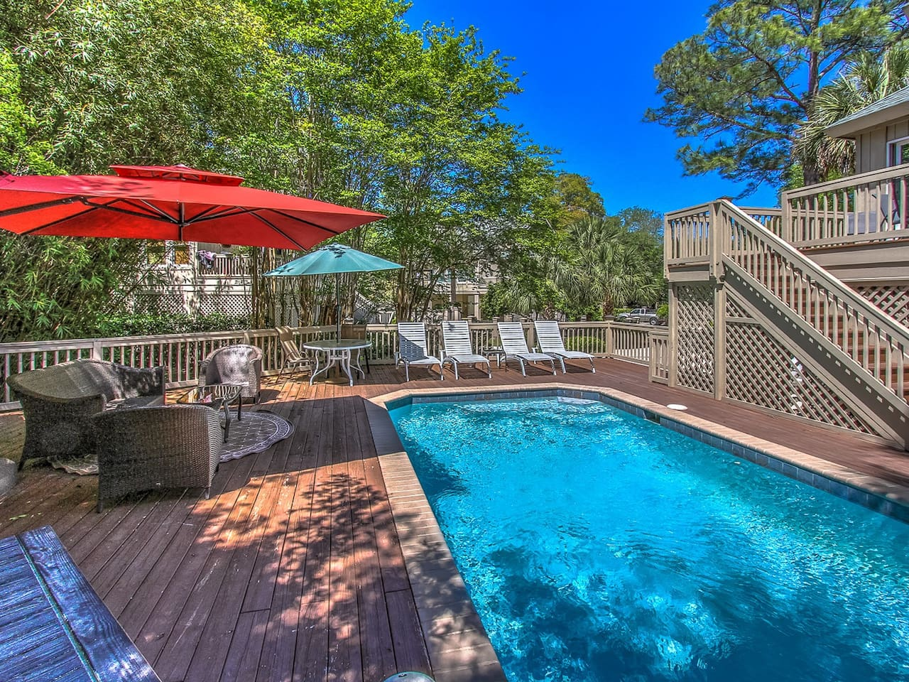 Pool and Deck Area at 13 Myrtle Lane