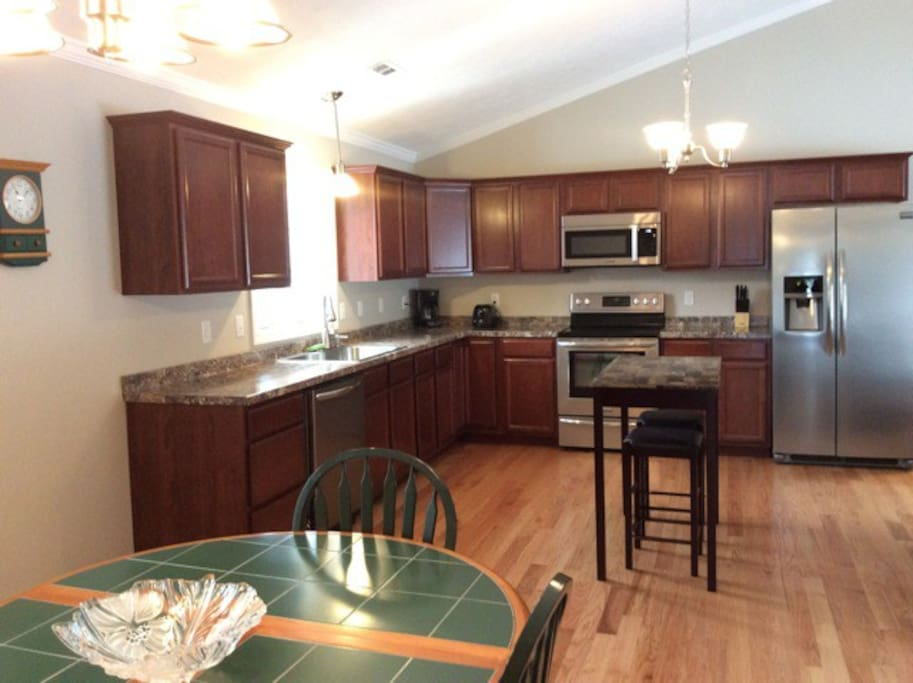 Large, open kitchen and dining with all amenities