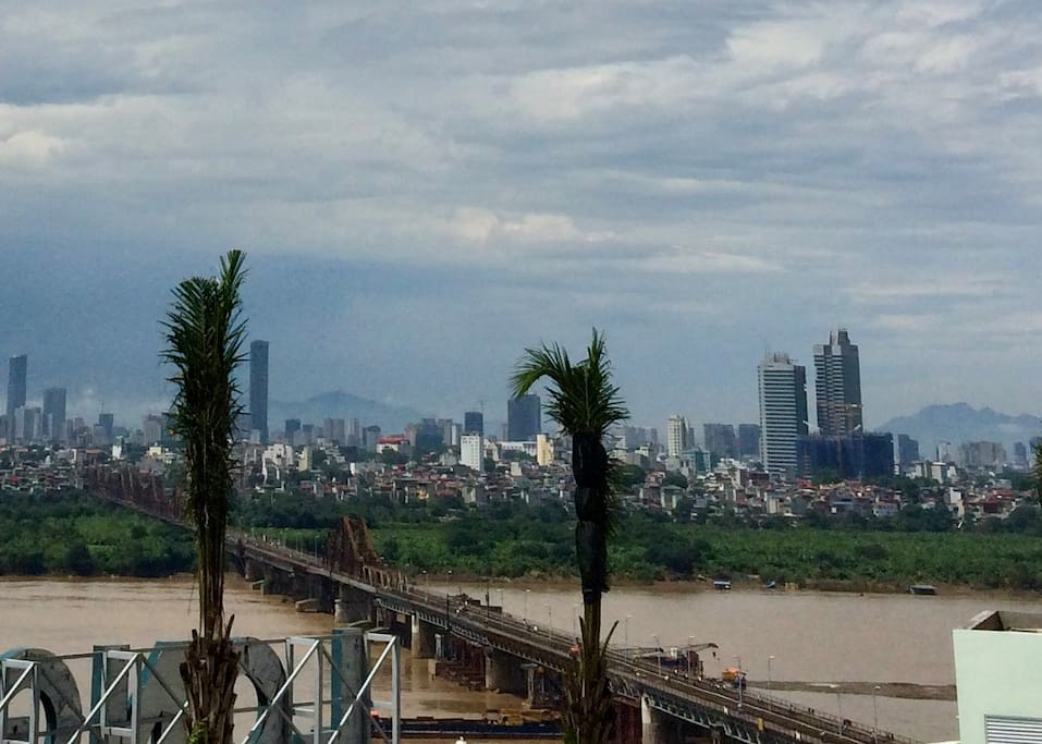 Longbien bridge and city skyline