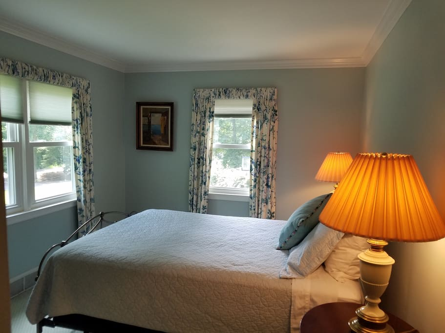 Guest bedroom with queen bed, double closet, dresser and TV