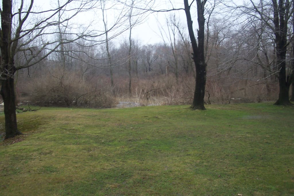 Side yard leads to the creek