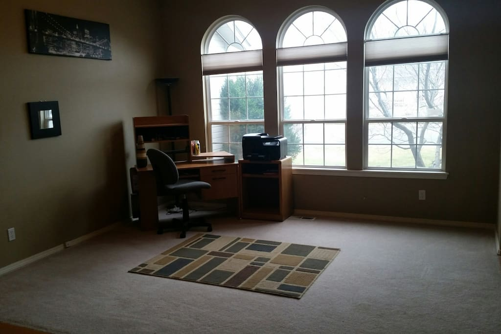 Open Living Room with Office Space