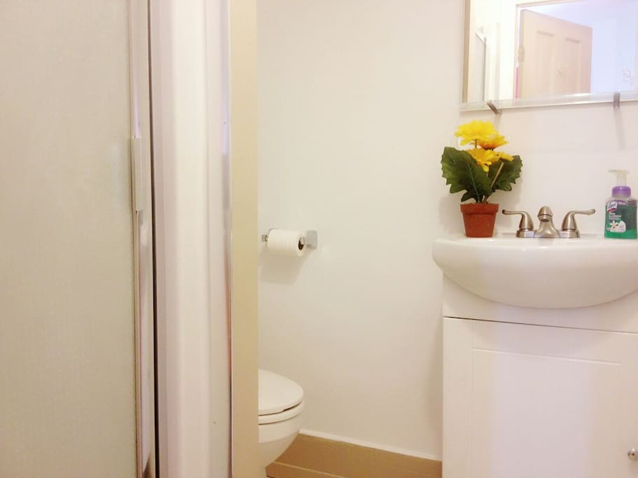 Private washroom with shower unit