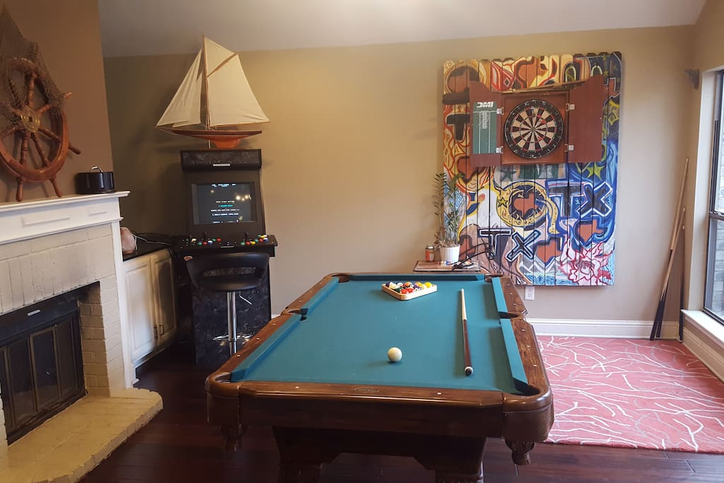Game area with pool table, darts, and a free arcade system with 1000's of games