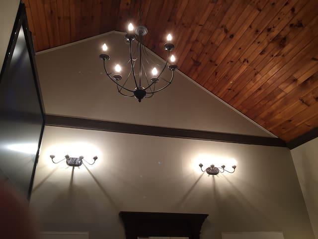 Twenty foot  ceilings highlight the space .