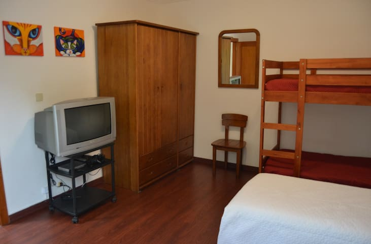 Double single bed and bunk bed room