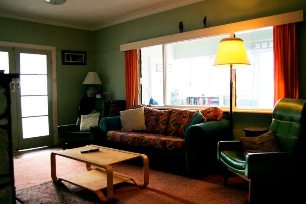 The cosy lounge room has a large coonara fire which is perfect in winter.