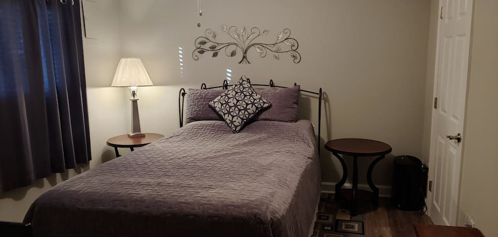 Bedroom - linen is washed in hot water between each visit. Ceiling fan and air cleaner in the bedroom.