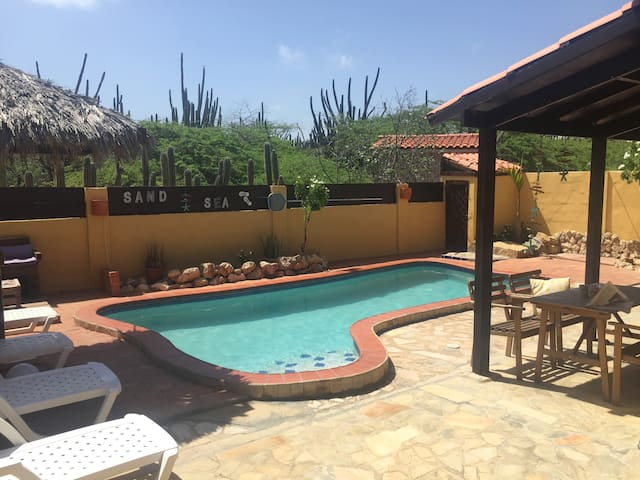 Enjoy the quiet backyard with your own private pool, lounge chairs, bbq and outdoor shower