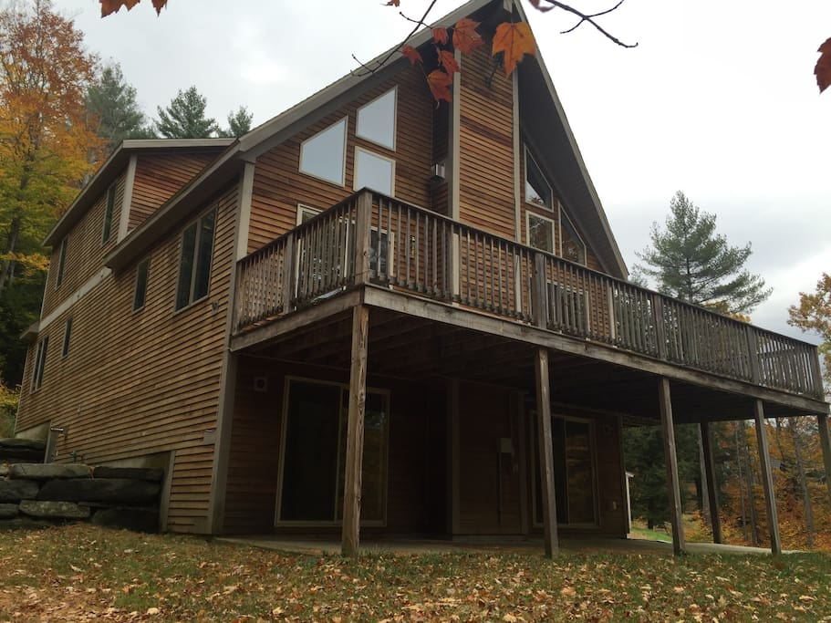 Spacious deck with views of Okemo