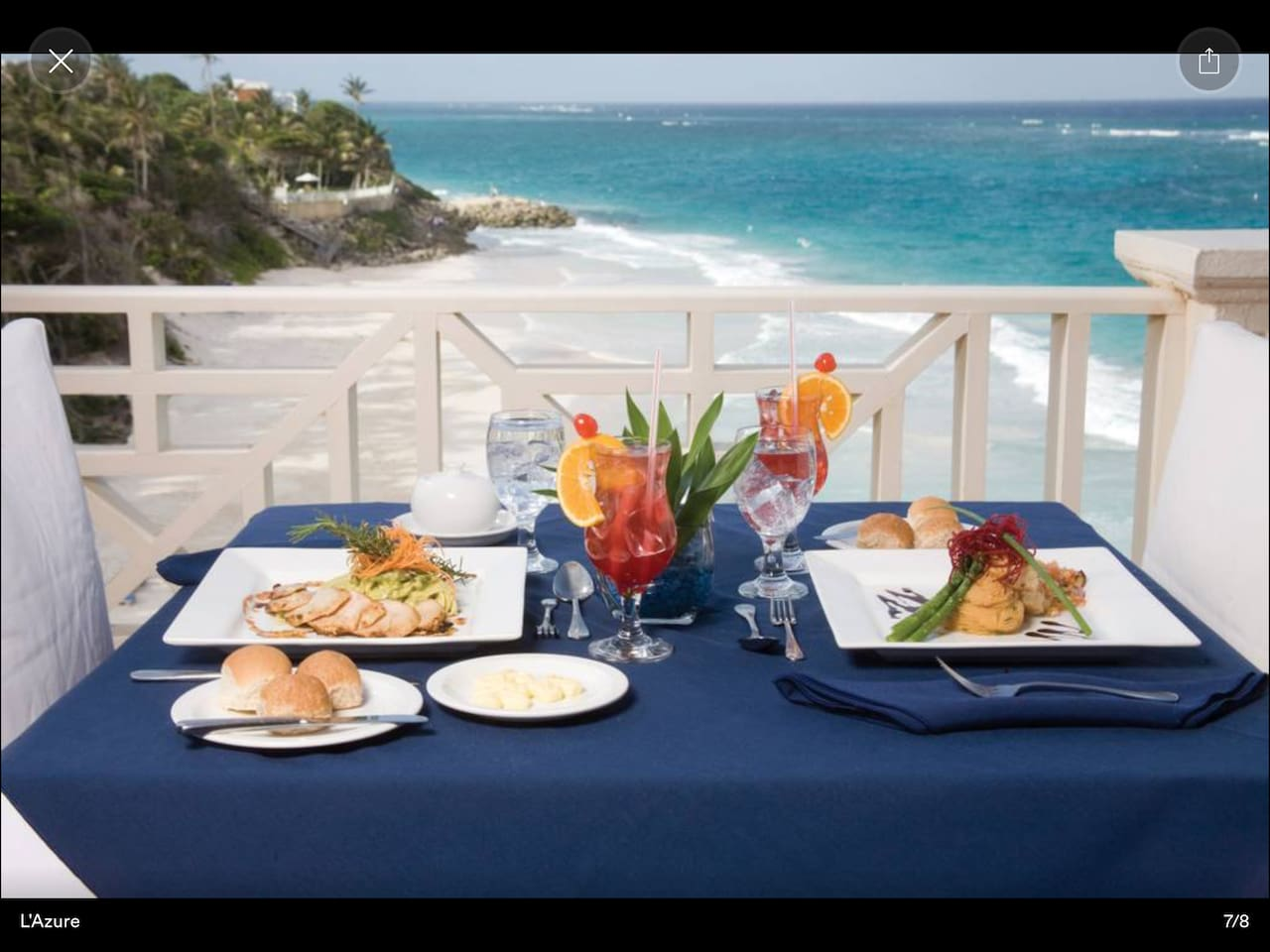 The world renowned Crane beach from L'Azure open for lunch and dinner.