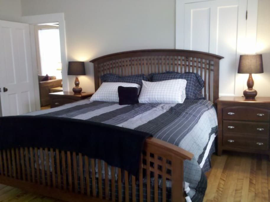 Unit One Master Bedroom has king size bed