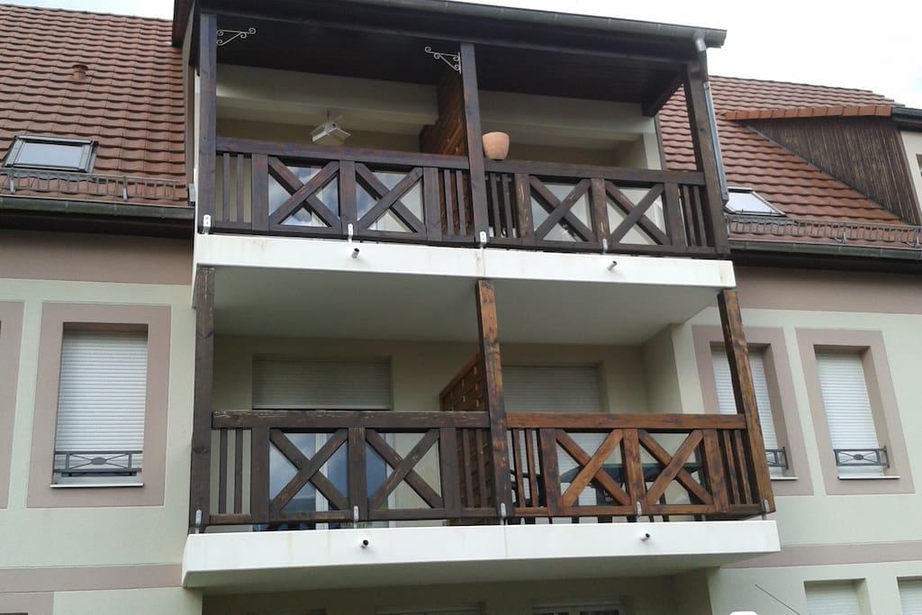 Balcon en haut à gauche