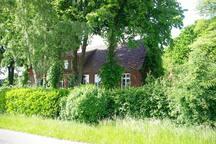 Alte Linden umstehen das Haus von 1924