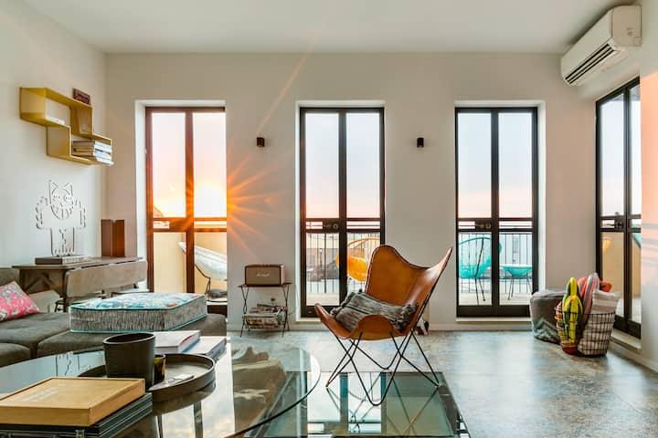 Loft unique avec terrasses et vue mer à Yafo