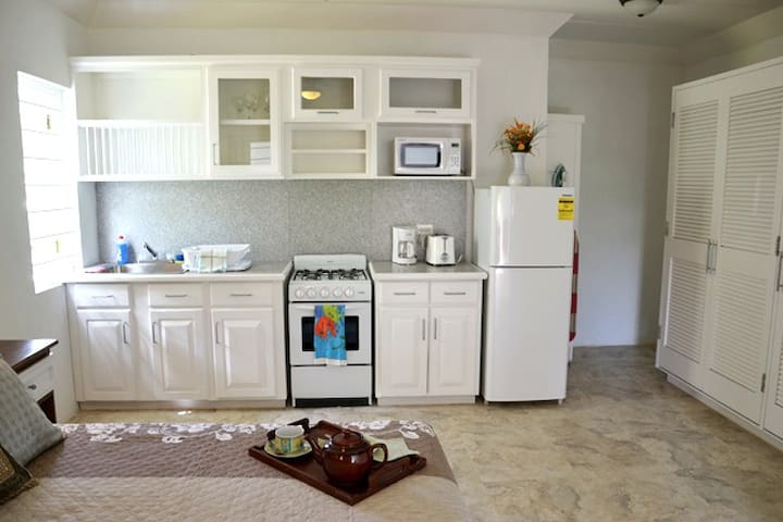 Well equipped kitchen with Fridge, Microwave, Stove, Coffee Maker and Toaster.