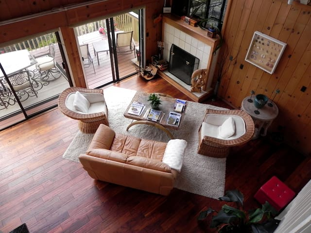 a view of the living room from upstairs